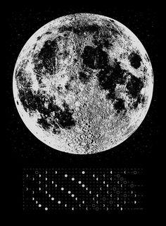 Large 2016 Mondkalender Phase 22 x 30 großer Bildschirm drucken, silber gold oder Kupfer Druck auf schwarz weiß Wissenschaft Luna Mond Wand Kunstraum, Stars