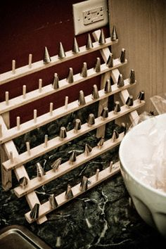 Pastry tip organizer and drying rack at a cake shop