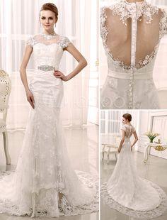 Vestido de noiva marfim sereia com cauda em renda e transparências