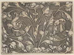 Horizontal Panel with Scrolling Tendrils Growing from Center