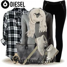 diesel bag and shoes, flannel, ankle boots, outfit
