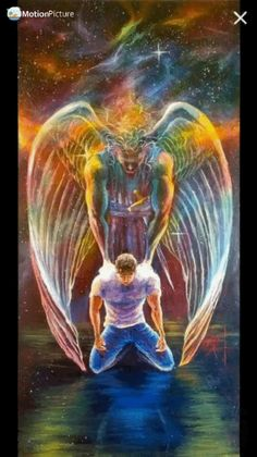 Find this Pin and more on Prophetic Art Paintings. Foto Fantasy, Fantasy Kunst, Fantasy Art, Angel Pictures, Jesus Pictures, Angel Images, Fantasy Wesen, Spiritual Paintings, Angel Warrior