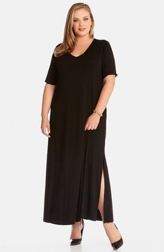 Karen Kane Plus Size Fashion Black V Neck Maxi Dress available at Nordstrom #Plus #Plus_Size #Fashion #Plus_Size_Fashion #Black #Karen_Kane #Sexy #Side_Slit #Maxi #Dresses #Maxi_Dresses #Plus_Size_Maxi_Dresses #Nordstrom