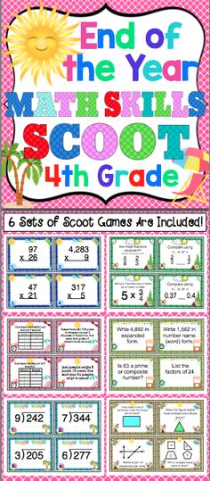 End of the Year 4th Grade Math Skills Scoot - Your class will have a blast reviewing 4th grade Common Core math skills. This pack of 6 math Scoot games will keep your students engaged and motivated as you review key 4th grade math skills. $