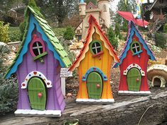 """Fairy Houses ~ Fairy Cottage can be displayed in the house or out in the garden. maybe a birdhouse?"", ""Awesome Bird House Ideas For Your Garden 92 im Bird House Kits, Gnome House, Garden Crafts, Garden Art, Garden Design, Diy Crafts, Birdhouse Designs, Birdhouse Ideas, Bird Houses Painted"