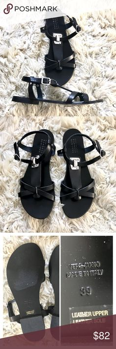 Barneys NY black leather sandal Barneys New York leather flat sandal. With silver tone hardware. Perfect for casual Spring Summer outfits. Leather upper/lining/sole/sock. Made in Italy. Brand new in original packaging. Size Euro 39. About 8.5 -9. US. Barneys New York Shoes Sandals