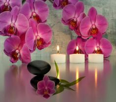 Candles Style Orchid Romantic Spa Flower Picture In Hd Wallpaper For Windows, Candle Lanterns, Pillar Candles, Glitter Candles, Candels, Feng Shui, Image Bougie, Orchid Spa, Zen Space