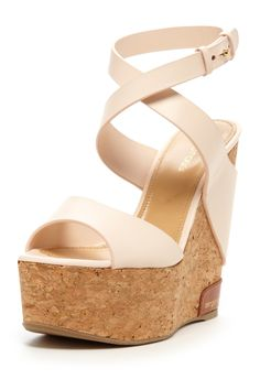 Sergio Rossi Cork Wedge Leather Trim Sandal on HauteLook