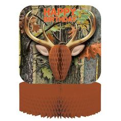 Accent your party table with this Hunting Camo Centerpiece! Includes 1 cardboard centerpiece that says Happy Birthday.Includes (1) themed centerpiece.