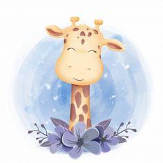 Cute animal giraffe smile face PNG and Vector Baby Animal Drawings, Cute Drawings, Cartoon Kids, Cute Cartoon, Adobe Illustrator, Art Mignon, Art Carte, Funny Giraffe, Cute Animal Illustration
