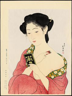 Hashiguchi Goyō, Woman Applying Makeup, (Hand Mirror), 化粧の女 (手かがみ), 1918