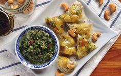 Cauliflower Rice Paper Samosas With Tangy Mint Chutney [Vegan, Gluten-Free]