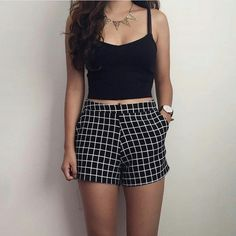 Check high waisted shorts and cut sleeves crop top with neck piece