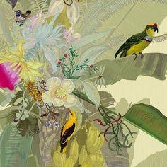 a work of art wallpaper for office Merian Palm SWP/MER/IVY/01