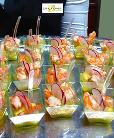 Individual shrimp ceviche appetizers with radish - City Chef Catering Lgbt Wedding, Wedding Day, Shrimp Ceviche, Wedding Appetizers, Linen Rentals, Wedding Catering, Bartender, Creativity, Boards