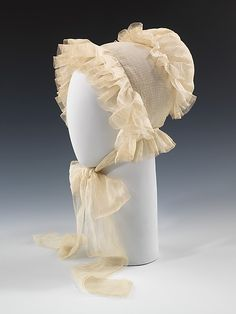 Morning cap 1835 - This morning cap with refined details would have been worn primarily at home in the early part of the day as an informal head covering.