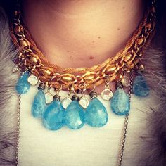 Aquamarine princess necklace. Vintage woven gold rope chain, aquamarine tear drops & vintage crystals. $170