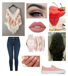 """""""Casual Night"""" by kaylag21 on Polyvore featuring Vans, J Brand, Lime Crime and A.X.N.Y."""