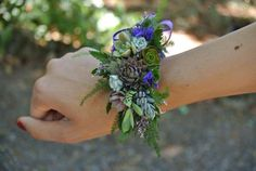 Hops and succulent wrist corsage by bohemianbouquets on Etsy