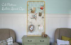 crib mattress bulletin board clips DIY lollyjane  For Christmas Card display?
