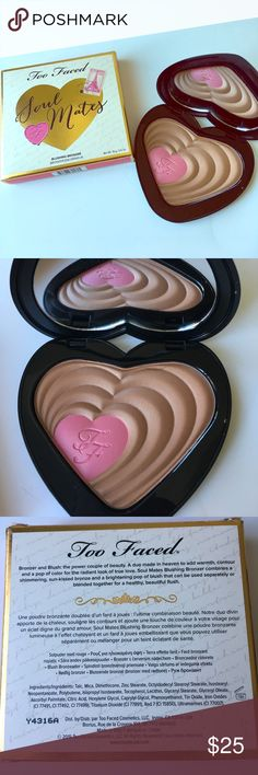 Too Faced Soul Mates Blushing Bronzer Too Faced Soul Mates Blushing Bronzer in Ross & Rachel. Bronzer/Blusher duo to add warmth, contour, and a pop of color. Too Faced Makeup Bronzer