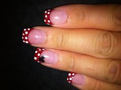 Disney nails with glitter red tips. I like the positioning of the mickey head here