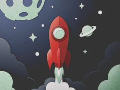 Skuemorphic Paper Rocket Animation by Austin Faure - Dribbble