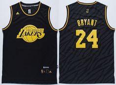 Los Angeles Lakers #24 Kobe Bryant Revolution 30 Swingman 2014 Black With Gold Jersey