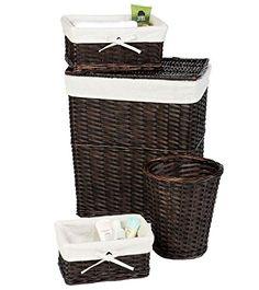 102360da59 New 4 Pcs. Dark Brown Espresso Hamper Set Waste Baskets Wicker Set Lined  Laundry Storage