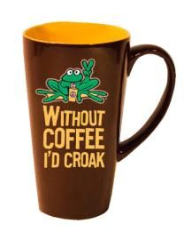 Peace Frogs Tall MugSKU #:21104 16 ounces.Also availableBrown Croaker - $9.99Navy Retro - $9.99