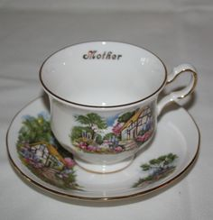 Queen Anne Bone China Tea Cup Saucer Mother Gold Trim Country Cottage Numbered #QueenAnne