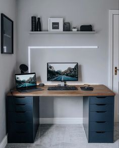 Ikea Home Office, Small Home Offices, Home Office Setup, Home Desk, Home Office Space, Desk Setup, Office Ideas, Office Decor, Ikea Alex Desk