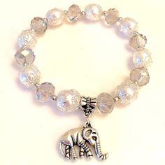 Handmade Crystal Lucky Elephant Charm Bracelet Crystal Handmade Charm Bracelet with Lucky Elephant to Ward Off Evil Energy. NEW Jewelry Bracelets