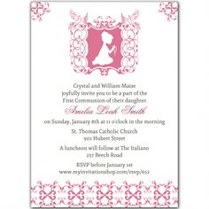 First Holy Communion Invitations  This blessed invitation features a silhouette of a little boy or girl praying in an elaborate frame with doves. The back has an overall pattern. IT'S perfect for a First Communion celebration. Coordinating thank you cards (folded), address labels and envelope seals complete this ensemble.