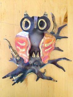 Vintage Metal Owl Wall Hanging Steel Copper Brass Handmade