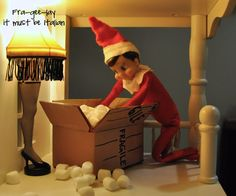 "Leg Lamp | 33 Genius Elf On The Shelf Ideas - Oh I so want an ""elf on the shelf"" if nothing else so I can make him get out the ""fra-gee-lay"" box and leg lamp!!!! LOL"