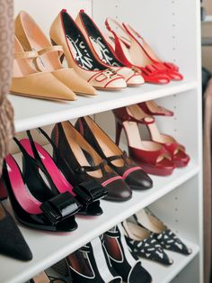 """TIP: Installing 24"""" deep shelving helps maximize your shoe space and keeps it organized."""