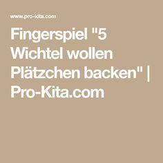 """Fingerspiel """"5 Wichtel wollen Plätzchen backen""""   Pro-Kita.com"""