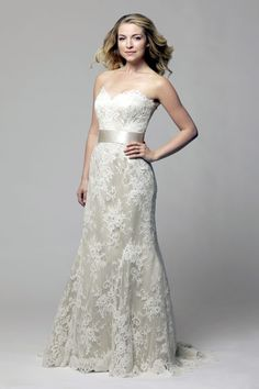 Modern Trousseau, Fall 2013 Collection Style: Ainsley  * Wish this was totally white. It kinda looks like a champagne color under lace. *