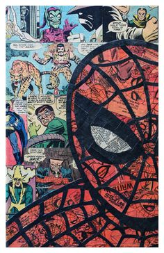 Really cool Spiderman poster made of old comic books