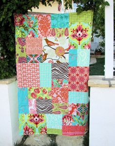 37x61 Aqua and Coral Random Patchwork and Minky Blanket Ready to Ship