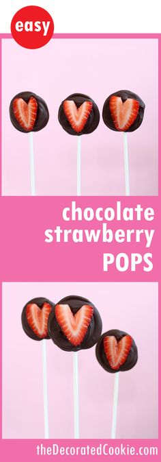 chocolate strawberry pops for Valentine's Day