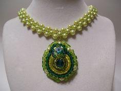 Beadwork+Pendant+Chartreuse+Pearl+Collar+Bib+by+BellaLucaDesigns,+$57.00