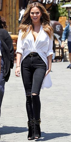 Outfit Ideas, Celebrities in Ripped Jeans and Heels