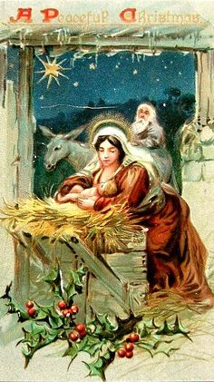"""Vintage Christmas Postcard ~ """"A Peaceful Christmas"""". Mary with Baby Jesus in the Stable. 1908 ~ This brings tears to my eyes. Christmas Nativity Scene, Christmas Images, Christmas Art, Christmas Decorations, Christmas Mantles, Antique Christmas, Vintage Holiday, Vintage Halloween, Vintage Santas"""