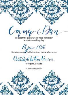Graphic-bleu-recto Arabesque, Wedding Day, Pi Day Wedding, Marriage Anniversary, Wedding Anniversary