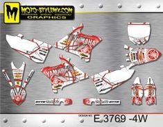 White and red full graphics kit for Yamaha YZ 250 including white number plate backgrounds Yamaha Yz 125, Custom Design, Decals, Graphics, Motorbikes, Bespoke Design, Tags, Charts, Graphic Design
