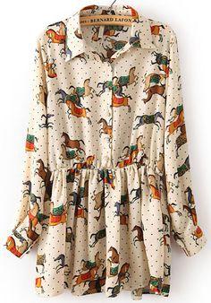 Beige Long Sleeve Polka Dot Horses Print Dress