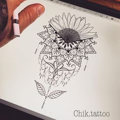 So many people like sunflower, not only because of its beauty, but also its impl… Sunflower tattoo – Fashion Tattoos Art Drawings Sketches, Tattoo Drawings, Body Art Tattoos, Sleeve Tattoos, Tatoos, Peace Tattoos, Sunflower Mandala Tattoo, Sunflower Tattoos, Mandala Tattoo Shoulder