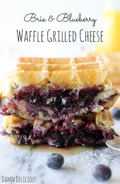 Brie and Blueberry Waffle Grilled Cheese from Damn Delicious